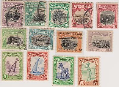 13 different older used stamps from Mozambique Company