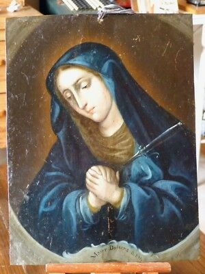 Antique Spanish Colonial Oil on Copper Retablo Painting Virgin Dolorosa 18th C.