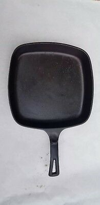 "Unmarked Wagner Ware Cast Iron 9 3/4"" Square Skillet Cleaned and Seasoned"
