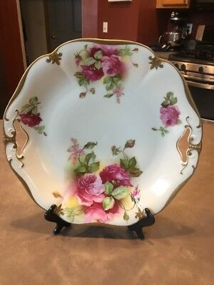 Prov Saxe Double Handled Cake Plate Platter China Pink Roses Germany Gold Embo