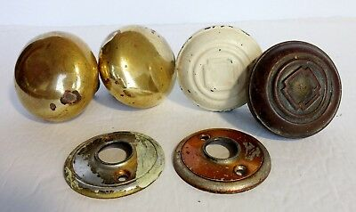 Lot of Antique Door Knobs 2 Pairs metal & Brass + Rod & 2 Rosettes AS IS