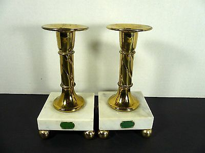 Hollywood Regency Mid Century Marble Brass Candle Holders Italian Shabby Chic