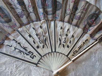 ANTIQUE CARVED COW BONE FAN EVENTAIL HAND PAINTED 18c FIGURES SILVER PUTTI 1700s