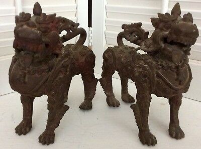 Pair of Vintage Chinese/Japanese Brass Ornate Foo Dogs, Lions, Large
