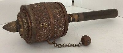 Vintage Ornate Large Tibetan Buddhist Copper & Brass Prayer Wheel