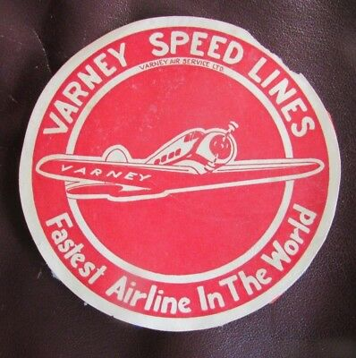 Baggage label tag -VARNEY SPEED LINES - FASTEST AIRLINE IN THE WORLD    (920)