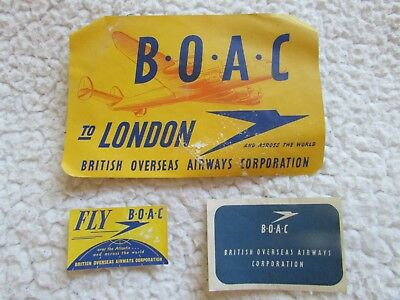 Baggage label tag -GROUP OF 3 BOAC AIRLINES LABELS  - LONDON   (920)