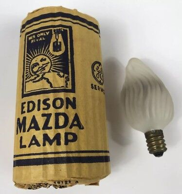 VINTAGE GE Mazda EDISON Glass Candle Flame F-10 Light Bulb 15W 115V All Frost
