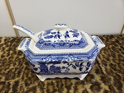 Vintage Antique Blue Willow Tureen  Made In Japan