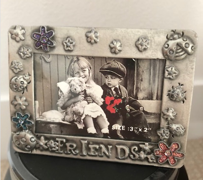 "Adorable Friends 3"" x 2"" Mini metal stand Picture frame New!! vintage look"