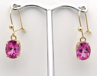 New Real Pink Topaz 9Ct Yellow Gold Drop Safety Wire Earrings UK Made Hallmark