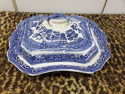 "Vintage Antique Blue Willow 7 1/2"" Serving Dish  Made In Japan"