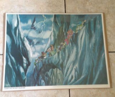 "Vintage 1977 Rankin Bass Hobbit Misty Mountains Sealed Movie Poster 26"" x 20"""
