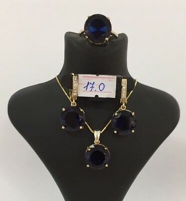AAA Quality 925 Sterling Silver Turkish Jewelry Blue Sapphire Ladies Full Set