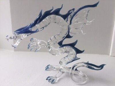 Mythical Crystal Hand Blown Glass Dragon Made In Minnesota