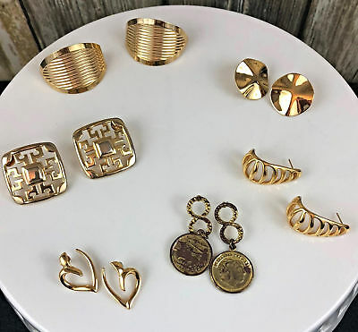Lot of 6 Retro 1980 Gold Tone Earrings Hearts Coins Dangle Earrings