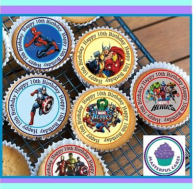 24 X Marvel Hero 10Th Birthday Edible Cupcake Toppers Wafer Paper,icing & Precut