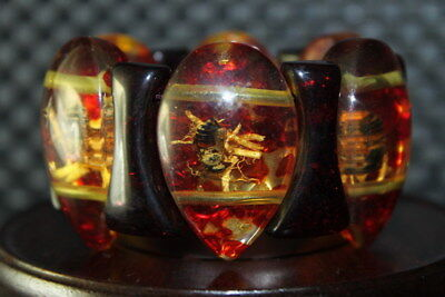 Exquisite Handwork Decor Amber Inlay Bees Fashion Royal Bead Usable Bracelet