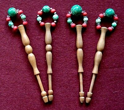 2 Pairs of Vintage Turned Wooden Lace Bobbins with Spangles