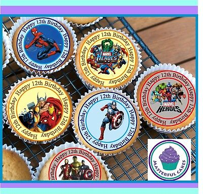 24 X Marvel Hero 12Th Birthday Edible Cupcake Toppers Wafer Paper,icing & Precut