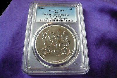 2018 Mickey Year of the Dog First Strike PCGS MS69 Niue Silver Coin Round