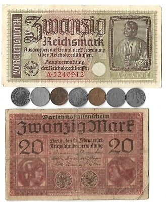 Rare Old WWI WWII German War Reichsmark Dollar Note Coin Great Collection Lot