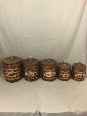 Vintage Treasure Craft Barrel 5 piece Canister Set