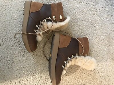 a352b783e4a UGG AUSTRALIA VIKI WATERPROOF EXPOSED SHEARLING LACE UP Boot 1017493  Chestnut