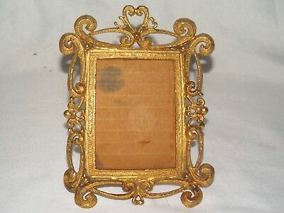 Vintage Heavy Gold Gilt Metal Ornate Rococo Style Table Top Picture Frame