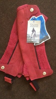 Shires Suede Half Chaps Childs Medium Dark Pink