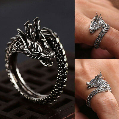 Mens Vintage Carved Black 3D Dragon Wrap Open Adjustable Ring Punk Jewelry S