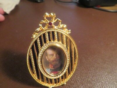 FABERGE Frame 24k Gold Plated Blue Enamel Crystals Picture Frame w/Stand