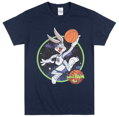 Looney Tunes Space Jam Bugs Bunny T-Shirt Navy Mens Tune Squad Movie Tee