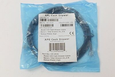 APG 320 Epson Star Multipro Cash Drawer Printer Cable CD-101A 5ft RJ11 RJ45