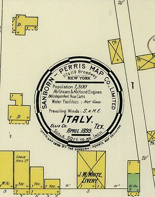 Italy, Texas~Sanborn Map© sheets~on CD~13 maps in color made 1899 to 1921