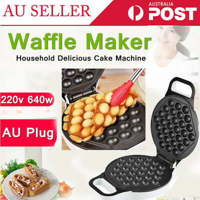 Non Stick 640W Electric Bubble Egg Maker Oven Waffle Kitchen Baker Machine Tool