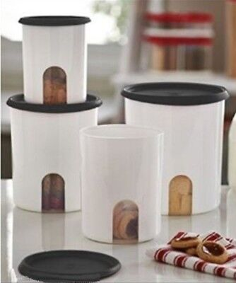 New TUPPERWARE 4 Pc Reminder Canister Set w/ One Touch Blossom Seals ~ Black