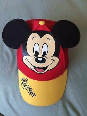 Disney Parks Mickey Mouse Baseball With Ears Red & Yellow Hat Cap Size Youth