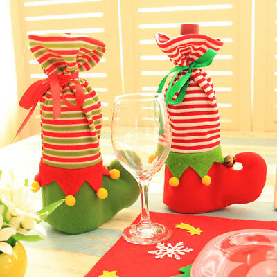FT- Christmas Gift Bag Elf Boot Candy Holiday Christmas Wine Bottle Cover Pouch