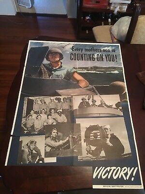 """Every Mother's Son Is Counting On You"" USA Victory WWII Original War Poster"