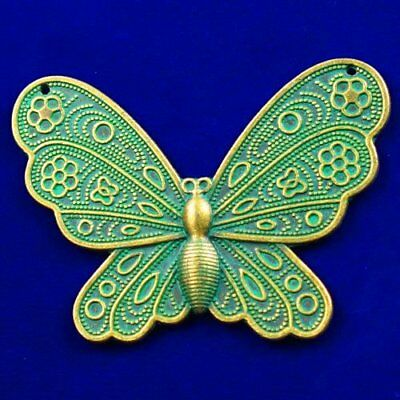 Carved Brass Bronze Butterfly Pendant Bead 60x41x3mm L89940