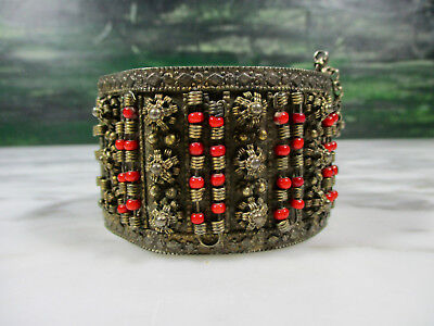 Antique Cannetille Granulated Low Content Silver Tribal Cuff Bracelet Glass Bead