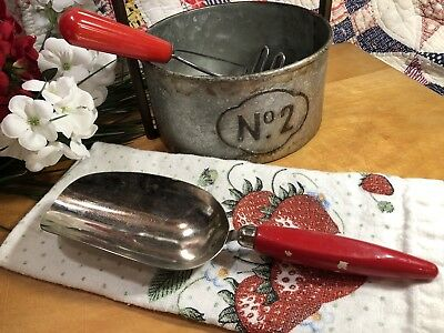 Vintage Red Wood Handle Metal 1/2 Cup Scoop Farmhouse Chic Decor Made Usa