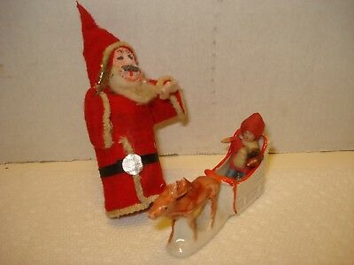 Antique Vintage Christmas HALF Santa Belsnickle Japan? Tiny German Sliegh w/Boy