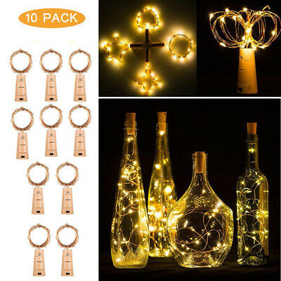 10pcs 20 LED Night Fairy Waterproof Warm White Wine Bottle Lights For Party US
