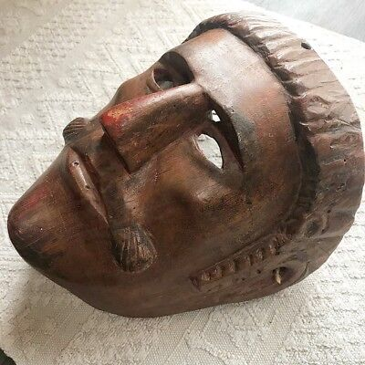 Antique Guatemalan Mayan Indian Carved Wood Mask Representing A Spanish Man
