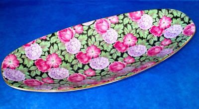 James Kent Fancy Oval Dish Chintz OLD FOLEY TAPESTRY Roses Hydrangea