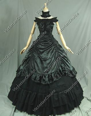 Victorian Choice Southern Belle Gothic Black Gown Dress Steampunk Clothing 135