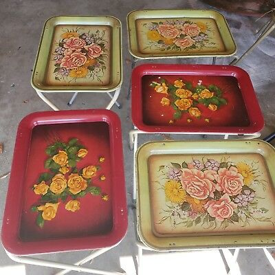 Vintage Retro Metal Folding TV Serving Trays Tables w/ Rack  Flowered 5 Set