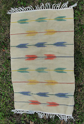 Rare Arrow Pattern Vintage SW Southwest Chimayo Indian Mexican Wool Blanket Rug